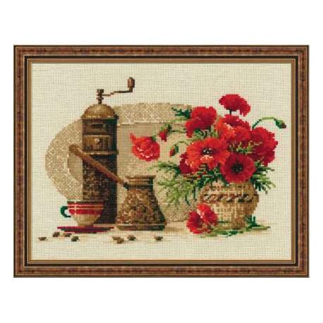 Кофе, набор для вышивания крестиком 30х24см нитки шерсть Safil 18цветов Риолис