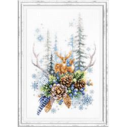 Дух зимнего леса, набор для вышивания крестом 17х27см мулине хлопок 28цв. канва Aida№14 ЧИ