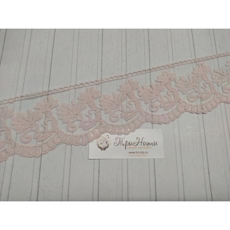 Розовый два цветка, кружево с узором ширина 8см 1м 100% полиэстер