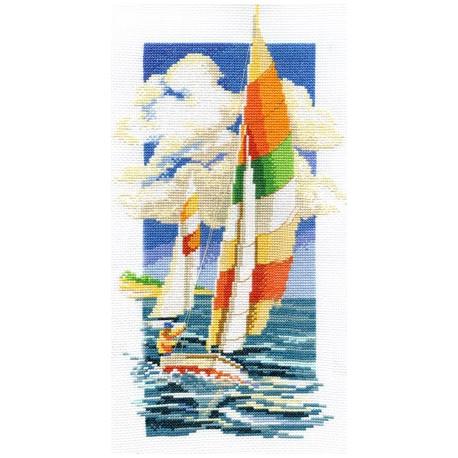 Яхта, набор для вышивания крестиком, 19х36см, 21цветов Panna