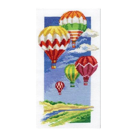 Воздушные шары, набор для вышивания крестиком, 16х30см, 22цвета Panna
