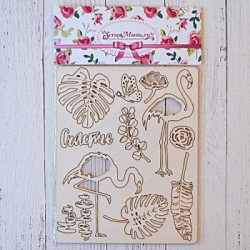 Роскошный фламинго, чипборд 12х15см CraftStory