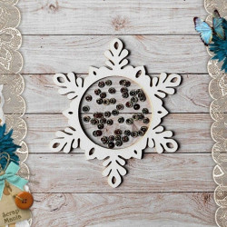 Снежинка большая Сканди Новый Год, шейкер d10см CraftStory