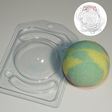 Полусфера D70, пластиковая форма для мыла и бомбочек с позиционированием h3.5см V90мл XD