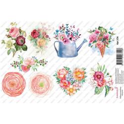 Розы и ранункулюсы, водорастворимая бумага с картинками 17х12см