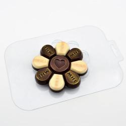 Любовная ромашка, пластиковая форма для шоколада d10см h1,2см вес готового шоколада 75г МФ