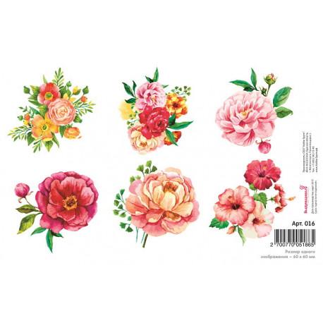 Цветы, водорастворимая бумага с картинками 17х12см