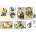 Пасхальные открытки, водорастворимая бумага с картинками 17х12см