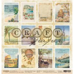 Карточки, коллекция Bon Voyage бумага для скрапбукинга двусторонняя 30,5x30,5см 190г/м CraftPaper