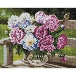 Пионов лохматая радость (Воробьёва О.), алмазная мозаика на подрамнике 40х50см 35цв полная выкладка
