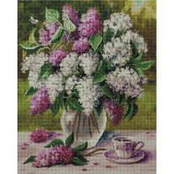 Сирень (Воробьёва Ольга), алмазная мозаика на подрамнике 40х50см 35цв полная выкладка PO