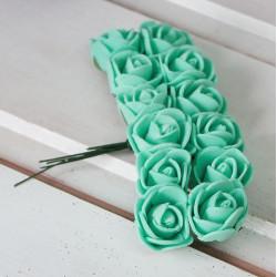 Аквамарин, роза из фоамирана 20х20мм, букет 12шт