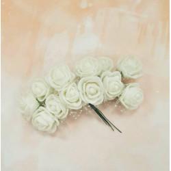 Кремовый, роза из фоамирана 20х20мм, букет 12шт