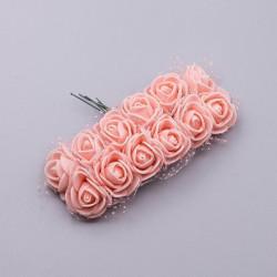 Розовый персик, роза из фоамирана 20х20мм, букет 12шт