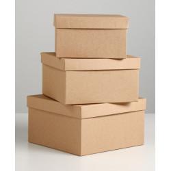 Квадратная коробка картонная крафт малая 15,5х15,5х6,5см