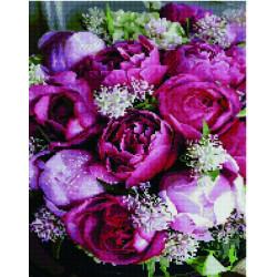 Розовые пионы, алмазная мозаика на подрамнике 40х50см 36цв полная выкладка PO