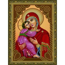 Владимирская Богородица икона, алмазная мозаика 20х30см 9цв неполная выкладка PO