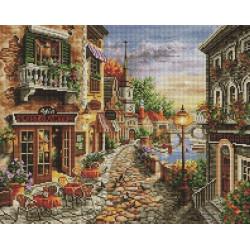 Уютная улочка, алмазная мозаика на подрамнике 40х50см 38цв полная выкладка PO