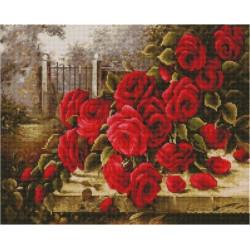 Розы в заброшенном саду, алмазная мозаика на подрамнике 40х50см 33цв полная выкладка PO