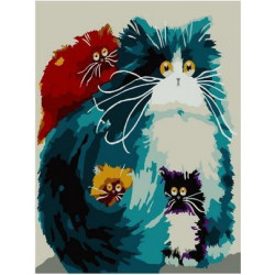 Желтоглазые котики, картина по номерам на холсте 20х30см 14цв Original