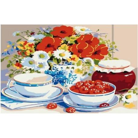 Малиновое варенье, картина по номерам на холсте 20х30см 14цв Original