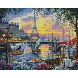 Эйфелева башня на закате, алмазная мозаика на подрамнике 40х50см 36цв полная выкладка PO