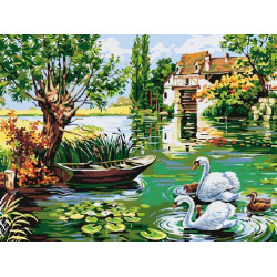 Мельница и лебеди, картина по номерам на холсте 30х40см 20цв Original