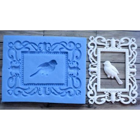 Рамка Большая с птицей внеш.9,4х7,2см внутр.5,1х3,6см, молд силиконовый универсальный АП