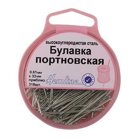 Булавки-гвоздики портновкие в пластиковом круглом контейнере, 33 мм, 0,61мм, 25гр(приблизит.310шт)