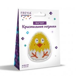 Цыпленок, кристальная мозаика магнит 8x6,5см, полное заполнение Фрея