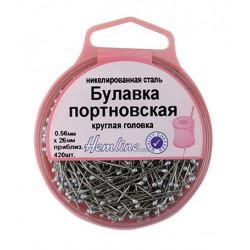 Булавки портновкие с круглой головкой в пластиковом круглом контейнере, 26 мм, 0,56мм, 25гр(приблизи