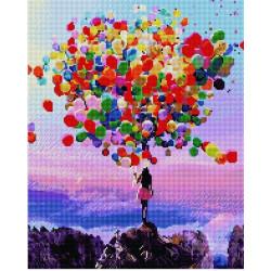 Разноцветные шары, алмазная мозаика на подрамнике 40х50см 36цв полная выкладка PO