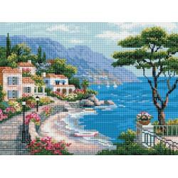 Курортный пейзаж, алмазная мозаика на подрамнике 30х40см 27цв полная выкладка PO