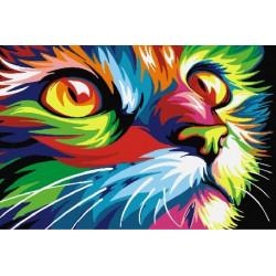Радужный кот, картина по номерам на холсте 20х30см 14цв Original