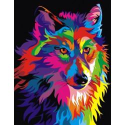 Радужный волк, картина по номерам на холсте 30х40см 16цв Original
