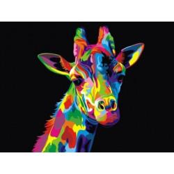 Радужный жираф, картина по номерам на холсте 30х40см 20цв Original