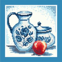 Гжель (красное яблоко), набор для изготовления мозаики круглыми стразами 25х25см частичная выкладка