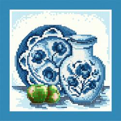 Гжель (зелёное яблоко), набор для изготовления мозаики круглыми стразами 25х25см частичная выкладка