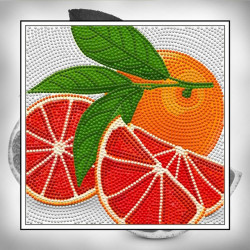 Грейпфрут, набор для изготовления мозаики круглыми стразами 25х25см полная выкладка