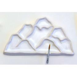 Горы, палитра керамическая 16х9см 7яч. 1место для кистей вес 145гр LP