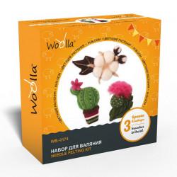 Цветущие растения, набор для валяния броши 3шт Woolla
