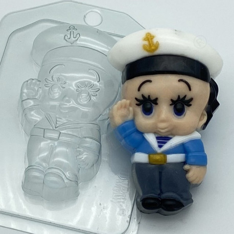 Малыш Моряк, пластиковая форма для мыла 84г 101х65х27мм XD