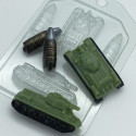 Танк Т-34 мини, пластиковая форма для мыла Верх-18мл 57х34х19мм Бок-14мл 67х30х132мм XD