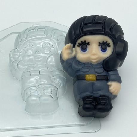 Малыш Танкист, пластиковая форма для мыла 87г 100х66х29мм XD