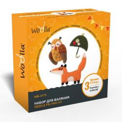 Осенние, набор для валяния броши 3шт Woolla