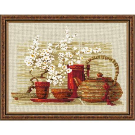 Чай, набор для вышивания крестиком 30х24см нитки шерсть Safil 17цветов Риолис