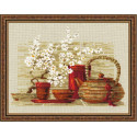 Чай, набор для вышивания крестиком, 30х24см, нитки шерсть Safil 17цветов Риолис