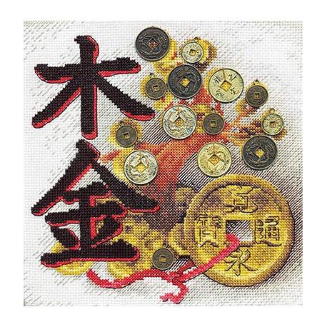 Денежное дерево, набор для вышивания крестиком, 20х20см, 19цветов Panna