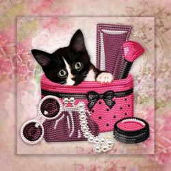 Любопытный котик, набор для изготовления мозаики круглыми стразами 25х25см 7цв. частичная выкладка