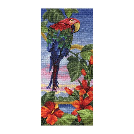 Тропический берег, набор для вышивания крестиком 15х32см 31цвет Panna